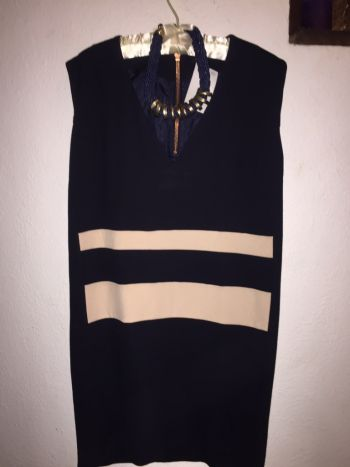 Foto Carousel Producto: Vestido mango azul con beige nuevo GoTrendier