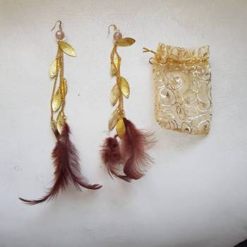 Foto Carousel Producto: Aretes largos dorados con plumas 2x1 GoTrendier