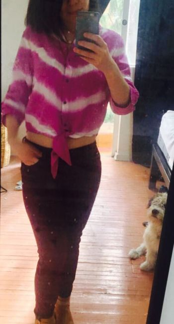 Foto Carousel Producto: Blusa retro rosa con blanco GoTrendier