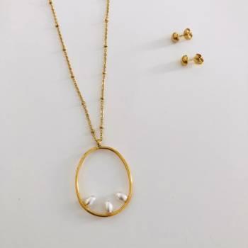 Foto Carousel Producto: Juego collar perla acero GoTrendier