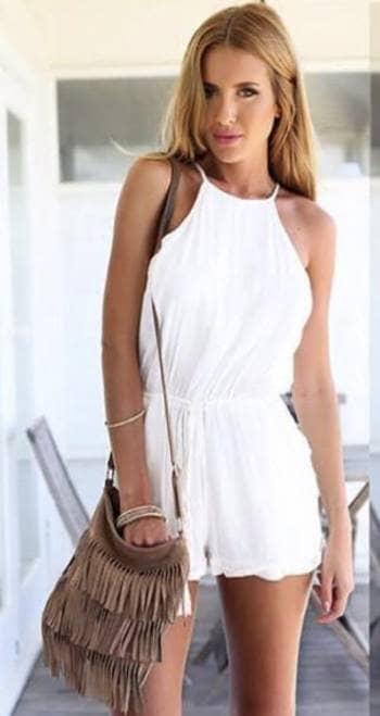 Foto Carousel Producto: Mono/vestido peto mango blanco GoTrendier