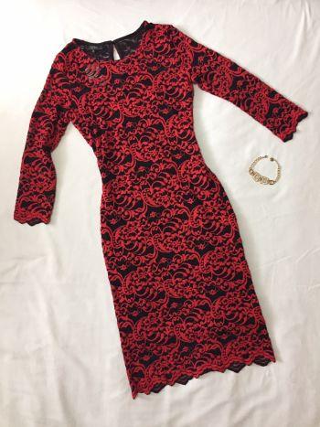 Foto Carousel Producto: Vestido rojo con floreado de encaje GoTrendier