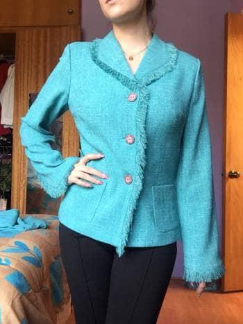 Foto Carousel Producto: Conjunto saco y pantalón sastre azul tipo Chanel GoTrendier
