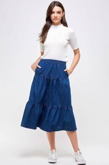 Foto Carousel Producto: Falda de mezclilla larga GoTrendier