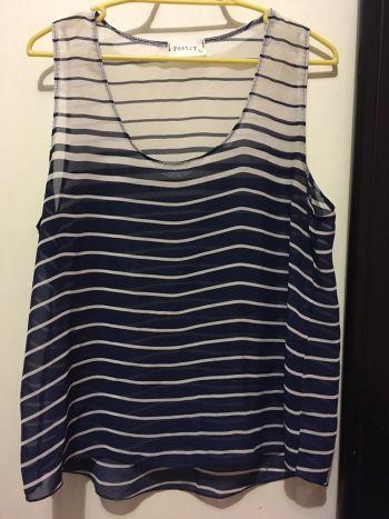 Foto Carousel Producto: Blusa azul con blanco rayas GoTrendier